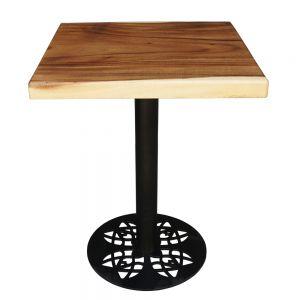 BMT019 - Bàn cafe gỗ me tây dày 5cm chân sắt (60x60x75cm)