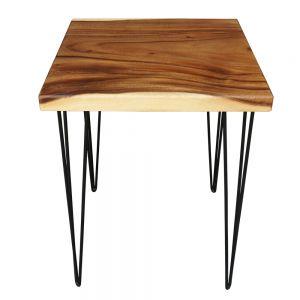 BMT017 - Bàn cafe gỗ me tây dày 5cm chân sắt (60x60x75cm)
