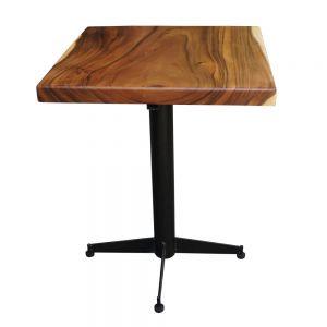 BMT018 - Bàn cafe gỗ me tây dày 5cm chân sắt (60x60x75cm)