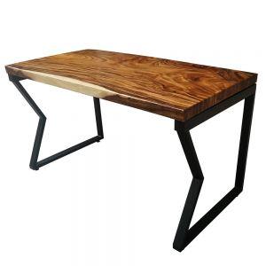 BMT013 - Bàn gỗ me tây 140x70cm dày 5cm chân sắt chữ M