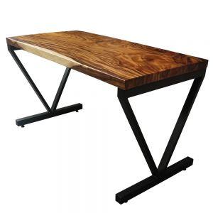 BMT014 - Bàn gỗ me tây 140x70 dày 5cm chân sắt chữ V