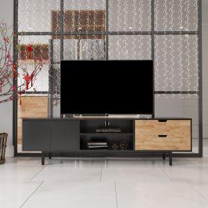 Kệ tivi phòng khách hiện đại bằng gỗ chân sắt 180x40x50cm KTV68042