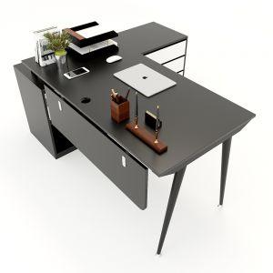 HBCO021 - Bàn giám đốc 160x140cm (mặt bàn rộng 70) hệ CONE chân sắt lắp ráp
