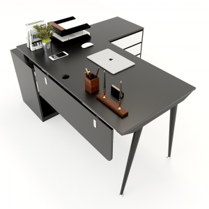 Bàn giám đốc 160x140cm (mặt bàn rộng 70) hệ CONE chân sắt lắp ráp HBCO021
