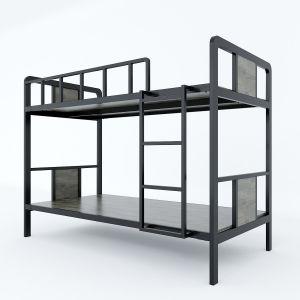 GT001- Giường tầng khung sắt lắp ráp gỗ cao su lau nâu ( 210x105x160cm)