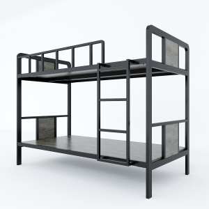 Giường tầng khung sắt lắp ráp gỗ cao su lau nâu ( 210x105x160cm) GT001