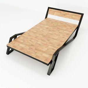 Giường ngủ Belly 120x200cm khung sắt gỗ cao su GN68014