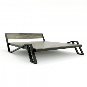 GN68015- Giường ngủ Belly 160x200cm khung sắt gỗ cao su