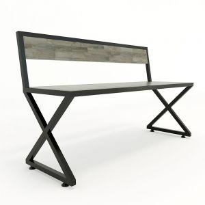 Ghế bằng dài chân sắt chữ X gỗ cao su có tựa lưng GBD001