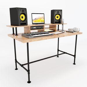 SD68002- Bàn phòng thu StudioDesk đơn giản chân ống nước gỗ cao su ( 140x70x92cn)