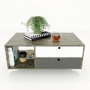 TT68046 - Bàn trà OSAN2 gỗ cao su hai hộc kéo (100x60x45cm)