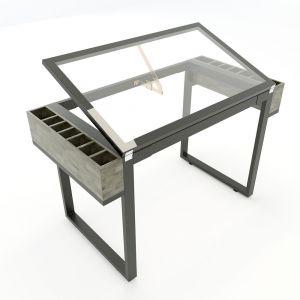 DD68005- Bàn vẽ kiến trúc DraftingDesk chân sắt mặt kính