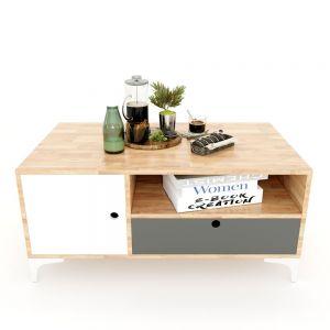 TT68047 - Bàn trà OSAN3 gỗ cao su 1 hộc kéo 1 cửa (100x60x45cm)