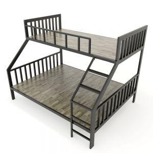 GT003- Giường tầng BAYA gỗ cao su khung sắt lắp ráp