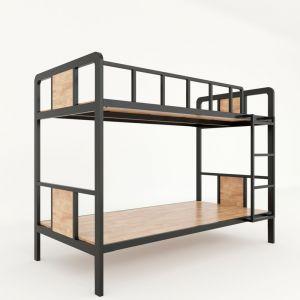 GT002- Giường tầng khung sắt lắp ráp gỗ cao su màu tự nhiên ( 210x105x160cm)
