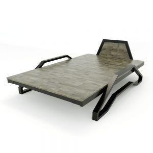 Giường ngủ Tankbed 120x200cm khung sắt lắp ráp gỗ cao su GN68013