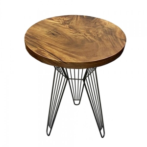Bàn cafe gỗ me tây tròn 60cm dày 5cm chân sắt BMT023