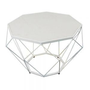 TT68054- Bàn Sofa Dimond khung trắng mặt đá trắng