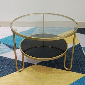TT68061- Bàn Sofa tròn 2 tầng mặt kính khung sắt màu vàng đồng