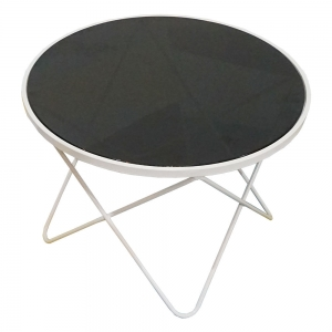 TT68048 - Bàn Sofa 4 chân chữ V sơn trắng kính đen