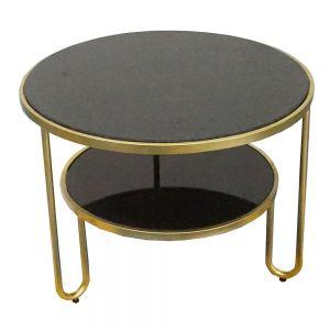 TT68060- Bàn Sofa Tròn 2 tầng mặt đá khung sắt vàng đồng
