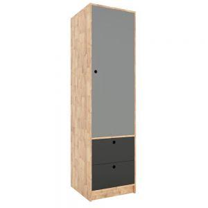 KQA68034 - Tủ quần áo nhỏ 1 cánh 2 hộc kéo gỗ cao su (60x55x180cm)