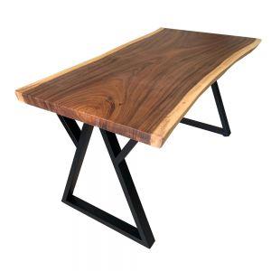 BMT027- Bàn gỗ me tây 80x160cm dày 5cm chân sắt W