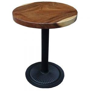 Bàn cafe gỗ me tây tròn 60cm dày 5cm chân sắt đế gang đúc BMT024