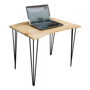 IDE68008 - Bàn mini Idesk gỗ cao su chân Hairpin (80x60x75cm)