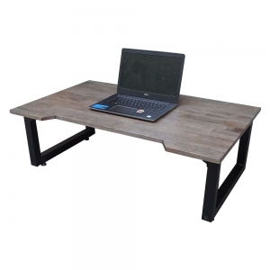 Bàn ngồi bệt SGDesk 100x60cm gỗ cao su màu nâu KHUYẾT chân gấp SGD005