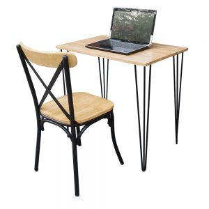 CB68047 - Combo bàn iDesk gỗ Cao su và ghế chân sắt
