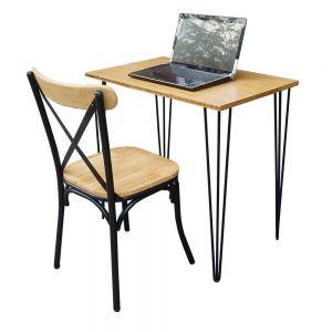 CB68046 - Combo bàn Idesk gỗ TRE và ghế chân sắt