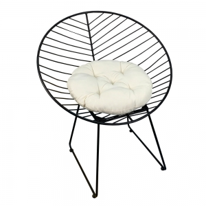 GCF019- Ghế cafe, thư giãn hình Nón sắt sơn tĩnh điện ĐEN có nệm