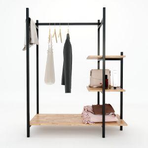 KQA68029 - Kệ treo quần áo khung sắt gỗ cao su ( 110x50x140cm)