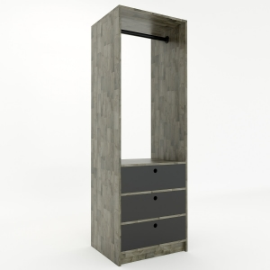 KQA68033- Tủ kệ quần áo Mini2 gỗ cao su 3 hộc kéo (60x50x180cm)