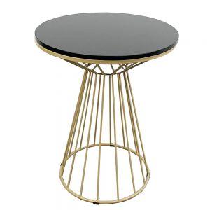 Bàn cafe tròn 60cm gỗ CAO SU chân cổ lọ sơn nhũ vàng CFD68043