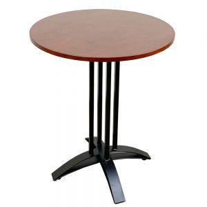 Bàn cafe tròn 60cm gỗ CAO SU chân sắt chữ thập cong CFD68040