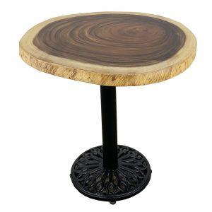 Bàn cafe gỗ Me Tây Nguyên Tấm tròn dày 5cm chân gang BMT042