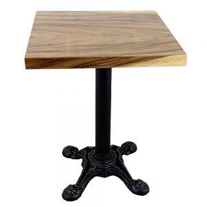 Bàn cafe vuông gỗ me tây dày 5 cm chân gang đúc 4 chĩa BMT036