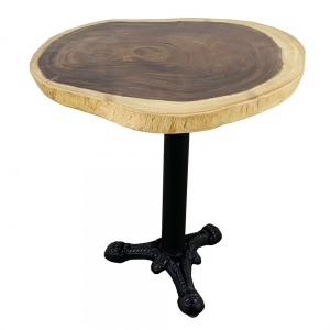 BMT035 - Bàn Cafe gỗ me tây dày 5cm chân gang đúc 3 chĩa