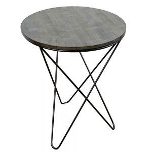 Bàn cafe tròn 60cm gỗ CAO SU chân sắt V xéo nhiều màu CFD68042