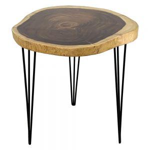 BMT044- Bàn Cafe tròn Gỗ Me Tây Nguyên Tấm dày 5cm chân Hairpin
