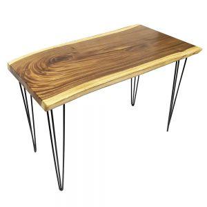Bàn nguyên tấm gỗ Me Tây dày 5cm chân Hairpin (120x65cm) BMT037