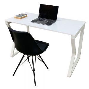 CB68050 - Combo bàn Mconcept full trắng và ghế nhựa có nệm đen