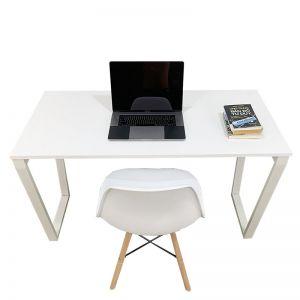 CB68051- Combo bàn Trapez full trắng và ghế nhựa trắng chân gỗ