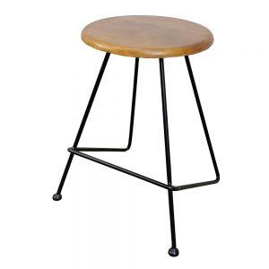 GCF029- Ghế đôn mặt gỗ tròn chân sắt Lap nhiều màu