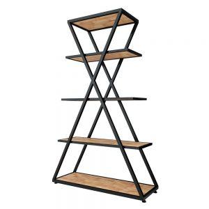 KKS002- Kệ khung sắt chữ X 5 tầng gỗ cao su (100x35x160cm)