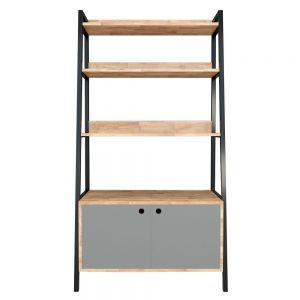 Kệ sách, trang trí khung sắt hình thang 5 tầng có tủ gỗ cao su (85x45x160cm) KKS004