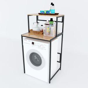 Kệ máy giặt 2 tầng gỗ Cao Su khung sắt tĩnh điện KMG68003