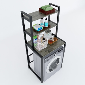 KMG68002- Kệ máy giặt 3 tầng gỗ Cao Su khung sắt